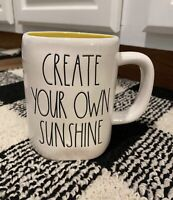 "Rae Dunn ""CREATE YOUR OWN SUNSHINE"" White W/ Black Letters Yellow Interior Mug"