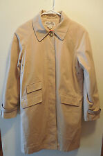Michael Kors Womens Trench Coat Small Jacket Tan Cotton Poly Wool Lining Vtg 90s