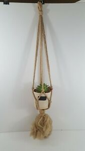 "Beige Yarn Rope Macrame Plant Hanger Boho Hippie Chic 32"" 1970's Vintage"