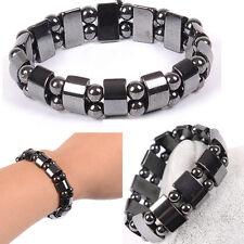 Fashion Black TIA U  Magnetic Hematite Healing Mens Womens Loose Beads Bracelet