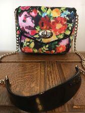 Topshop Floral Pink Black Cross Travel Satchel Shoulder Designer Hobo Holiday