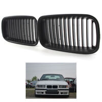 Front Hood Kidney Grille Grill 1 Pair For BMW 3 Series E36 1992-1996 Matte Black