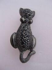 Estate Costume Cat Pin Gunmetal Gray with Black Rhinestones