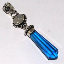 """Plated Pendant 2.8"""", O8130 Blue Quartz 925 Silver"""
