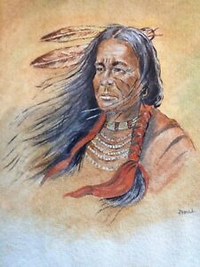 Native American Indian Original Watercolour by P. Hall