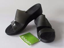 $54.99 Crocs Color-Block Mini Wedge  Women's Black Slides Sandals, size 9 NEW