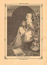 Christmas Tree, Doll, Child Praying, Vintage 1902 German Antique Art Print