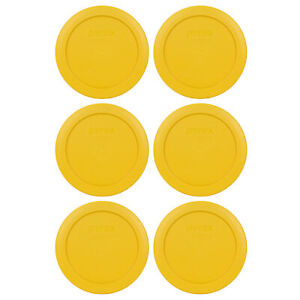 Pyrex 7200-PC 2 Cup Butter Yellow Round Plastic Storage Lid 6PK for Glass Bowl