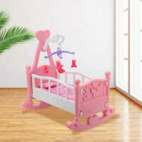 Pink Dolls Rocking Cradle Crib Cot Bed Girls Toy With Mobile Blanket Pillow UK