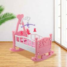 More details for pink dolls rocking cradle crib cot bed girls toy with mobile blanket pillow uk