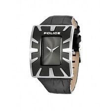 Policía 14006js/61 40mm De Gran Tamaño Esfera Acero Inoxidable Funda De Cuero Negro Reloj