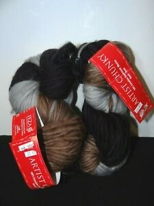 Artist Chunky 100% Fine Merino Wool Superwash Lot 2 Skeins Brown Black Lt. Gray