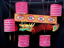 5 RED PAPER LANTERN M 50cm LUCKY DRAGON CHINESE BIRTHDAY WEDDING JAPANESE PARTY