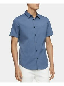 CALVIN KLEIN Mens Navy Logo Graphic Classic Fit Button Down Casual Shirt S