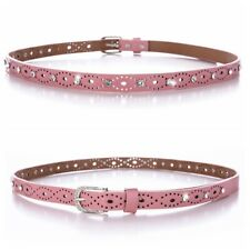 Women PU Leather Belt Crystal Floral Hollow Out Pin Buckle Waistband Solid Color