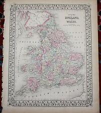 England and Wales Rare Original Antique 1870 Mitchell's Atlas Map