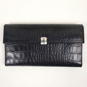 Vtg RALPH LAUREN Alligator CROCODILE Checkbook Secretary Leather Clutch Wallet