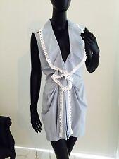 Oscar de la Renta White Pastel Blue Cotton Dress Robe Sz8