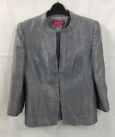 Jacques Vert Size 10 Silver Fitted Collarless Tailored Suit Style Blazer/Jacket