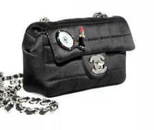 CHANEL limited edition satin lipstick charm mini bag black silver hardware