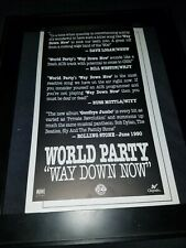 World Party Way Down Now Rare Original Radio Promo Poster Ad Framed!