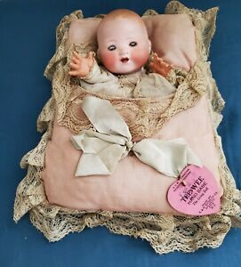 Antique Armand Marseille Solid Dome Bisque Head Doll In Pillow Tee-Wee Hand Babe