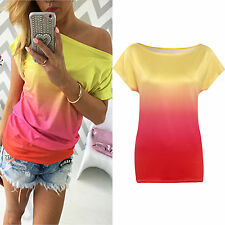 Women Loose Top Summer Gradient Casual Short Sleeve T-shirt Boat Neck Tee Blouse