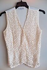 SAN ANDRE Ivory Lace-Front Tie-Back Sleeveless Blouse/Vest Size 10 Made in USA