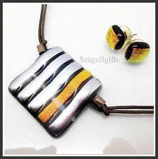 Janart Silver,Orange Shimmer Art Glass Designer Necklace & Earring Stud Set