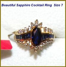 NEW Blue/White Lab-Created Sapphire 14K Yellow Gold Over Sterling Silver Ring  7
