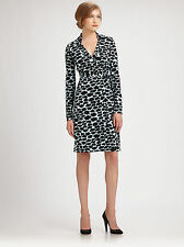 Diane von Furstenberg Jeanne blue cloud print silk wrap dress US 6
