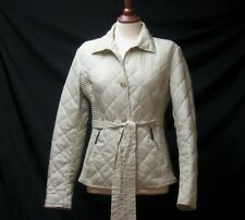 FERAUD WOMEN'S BEIGE QUILTED PADDED JACKET COAT LOGO LINED BELTED UK 14