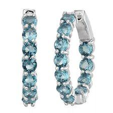 14K White Gold Over Round Brilliant Cut Blue Topaz Inside-Outside Hoop Earrings
