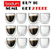BOXED BODUM PAVINA DOUBLE WALL 12 ESPRESSO CUPS GLASSES 80ML -BUY 10 GET 2 FREE