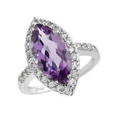 EXQUISITE SOLID 10K WHITE GOLD GENUINE AMETHYST AND TOPAZ RING 7 / O - U$920