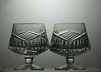 "TYRONE CRYSTAL ""SLIEVE DONARD"" CUT GLASS BRANDY GLASSES SET OF 2"