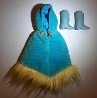 Vintage Barbie, Francie #1764 Corduroy Cape Poncho w/yellow Fir, & Squishy Boots