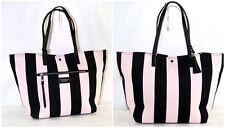 Victoria's secret Tote Bag Get Away Striped Pink Black Canvas Tassel  Purse NEW