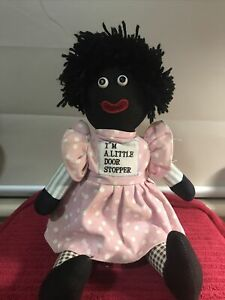 black rag Doll African American cloth doll collectable Little Door Stopper Girl