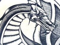 1982 ORIGINAL PEN & INK ART PRINT vintage fantasy artwork DRAGON FIGHT BY SHANE