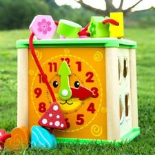 Kids Children Multi Function Wooden Activity Cube Puzzle Clock Bead Maze Toy LC