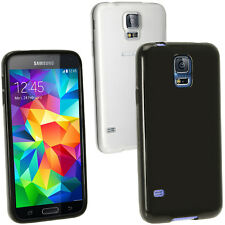 Black Glossy Gel Skin Case Cover for Samsung Galaxy S5 SV SM-G900 + Screen Prot.