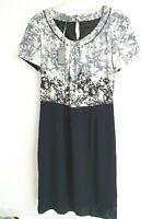 *NEW* Gorgeous Laura Ashley Smart Floral Ivory & Black Dress  Size UK 14 RRP £90