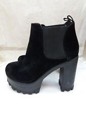 Public Desire Black Suede Ankle Boots - Cleated Sole Platform - UK 4