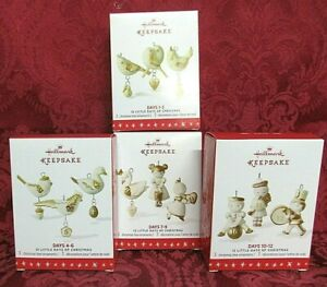 Hallmark 2016 Porcelain Ornaments ~ 12 Little Days of Christmas 1 through 12