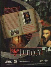 Original 1997 Atlus Sega Saturn LUNACY horror video game magazine print ad page