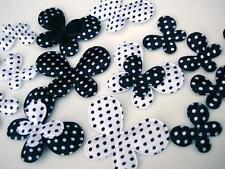 80 Black/White Satin Polka Dots/Felt Butterfly Applique/Big+Small Mix/trim H220