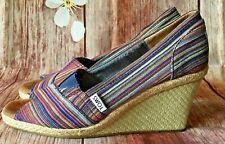 Toms Wedge Espadrille Peep Toe Slip On Canvas Heels Multi colored Womens Sz 8
