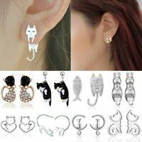 Women Cute Stainless Steel Crystal Pearl Cat Animal Ear Stud Earrings Jewelry