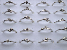 50X Wholesale Lots Fashion Women Jewelry Crystal Rhinestone Silver Plated Rings